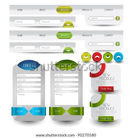 menu navigation with web contact box and banners - stock vector