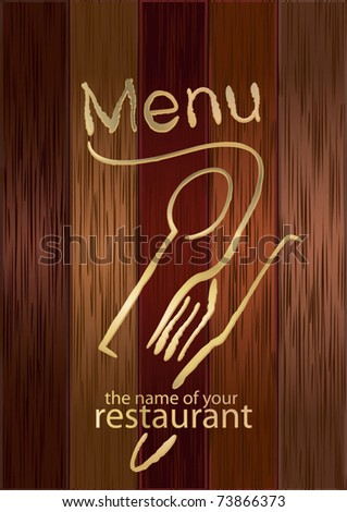 Menu on the wooden board - stock vector