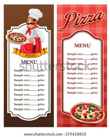 menu pizza - stock vector