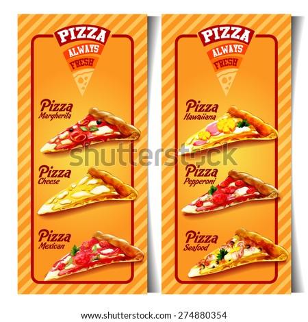 menu pizzeria - stock vector