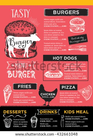 Menu Place Mat Food Restaurant Brochure Stock Vector