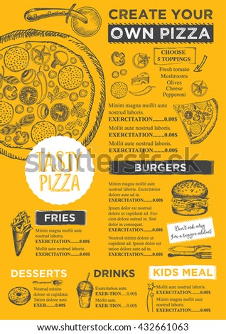 Create Your Own Menu Template | Menu Placemat Food Restaurant Brochure Menu Stock Vector 432661063
