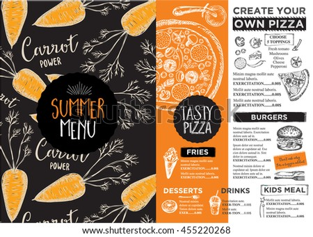Vector Thai Food Restaurant Menu Template Stock Vector 421788424