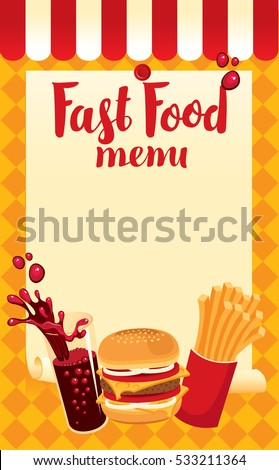menu price fast food with cola, hamburger and fries