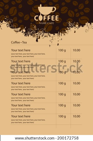 Menu price list with cup of coffee and grains - stock vector
