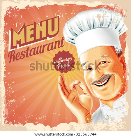 menu restaurant chef retro - stock vector
