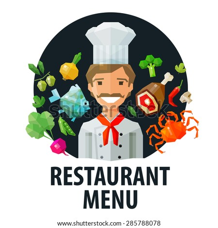 menu, restaurant vector logo design template. chef, food or cooking icon. flat illustration - stock vector