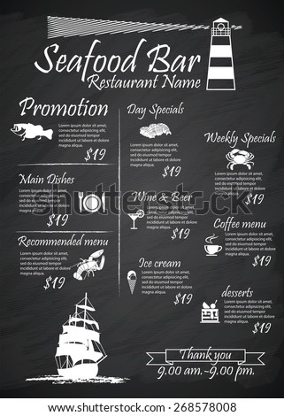 Menu Seafood restaurants Signs,Posters, blackboard - stock vector