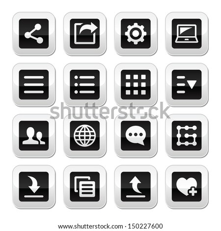 Menu settings tools buttons set  - stock vector