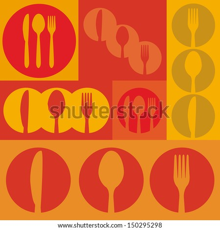 menu skin over  orange background vector illustration