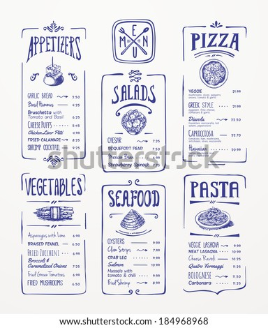 Menu template. Blue pen drawing. Appetizers, vegetables,salads, seafood, pizza, pasta. - stock vector