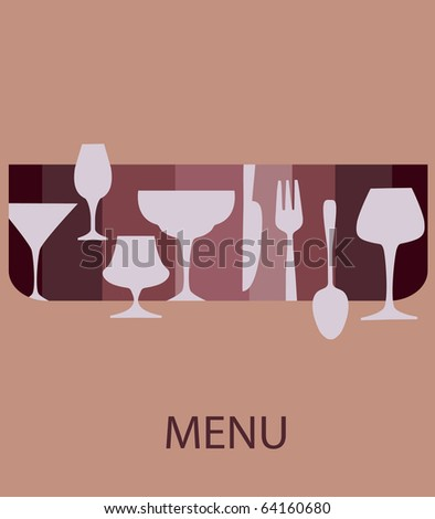 menu template. glasses and forks on retro background - stock vector