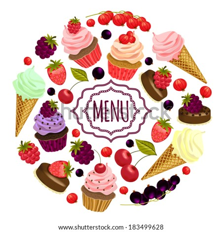 Menu template with desserts and berries. - stock vector