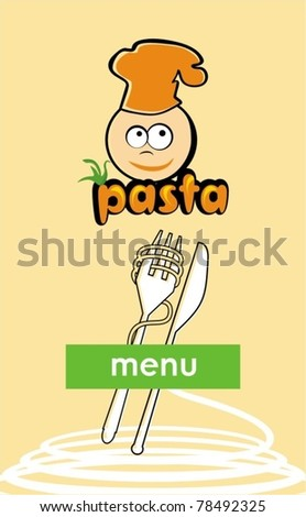 Menu template with pasta - stock vector