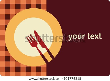 menu template with plate , fork and knife - stock vector