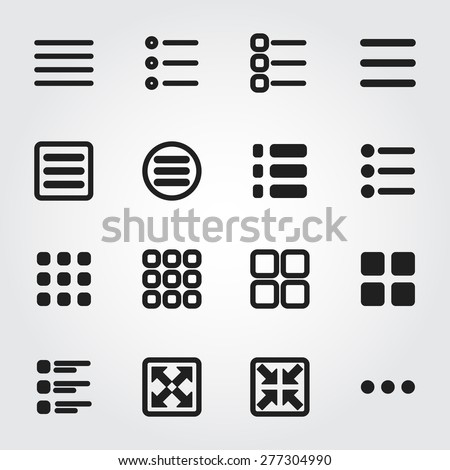 menu vector icons - stock vector
