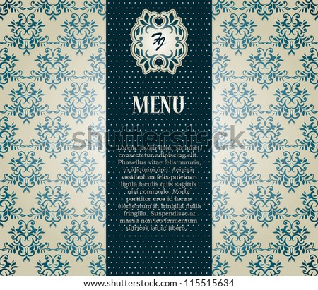 Menu. Vintage card with seamless damask wallpaper, Can be used as invitation etc - stock vector
