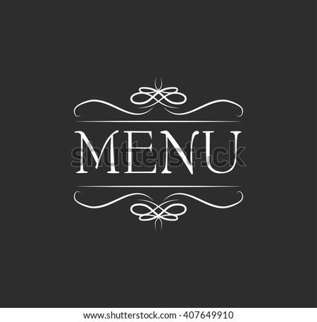 Menu. Vintage elements and page decoration. Ornate frames and scroll element. Ornate frame elements menu. Vintage and filigree menu  decoration. Ornate  and scroll swirls element. Filigree divider  - stock vector