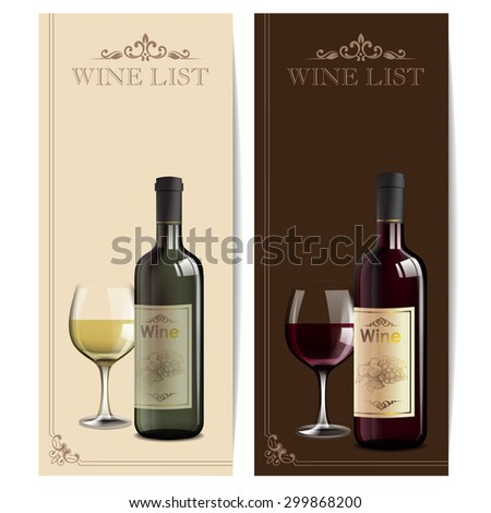 menu wine red and white - stock vector