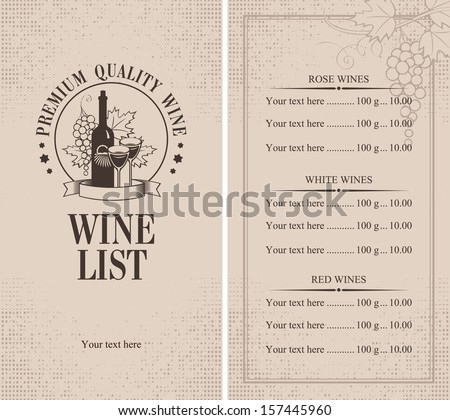 Menu with a bottle of wine, glasses and a bunch of grapes - stock vector