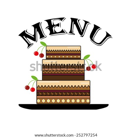 Menu with cake,vector. - stock vector