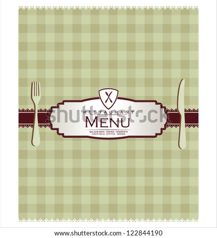 Menu with cutlery on checkered background