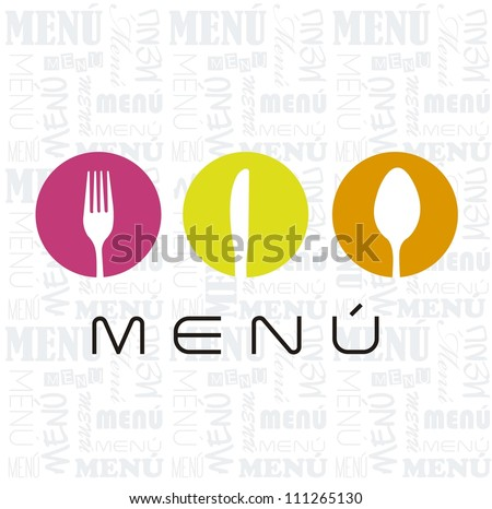 menu with cutlery sign over white background. vector illustration - stock vector