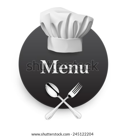 Menu with fork, spoon with hat on white background. Vector illustration - stock vector