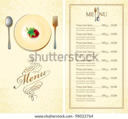 menu with raspberries on plate - stock vector