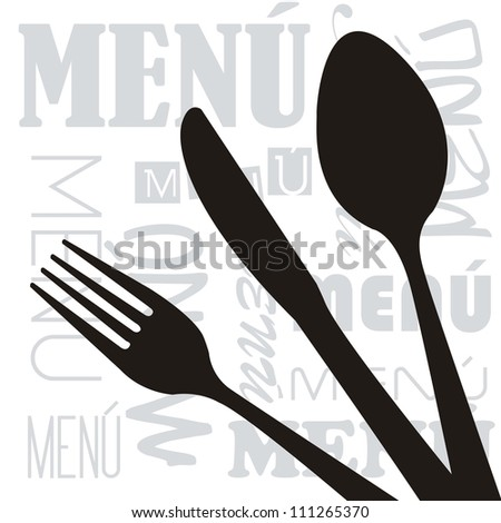menu with silhouette cutlery background. vector illustration - stock vector