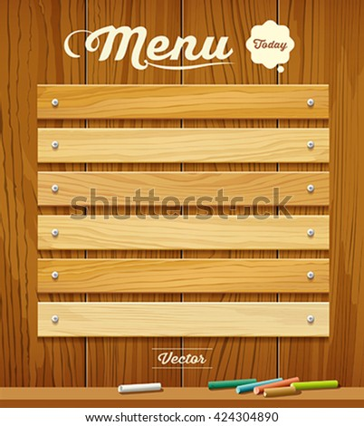 Menu wood board with pastel color design background, vector illustration
