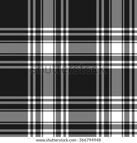 Menzies tartan black kilt skirt fabric texture seamless pattern.Vector illustration. EPS 10. No transparency. No gradients.
