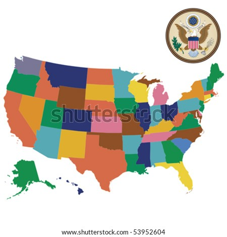 Mercator map of USA with outlines - stock vector