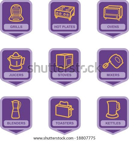 Merchandise Pictogram Series - Kitchen Appliances - stock vector