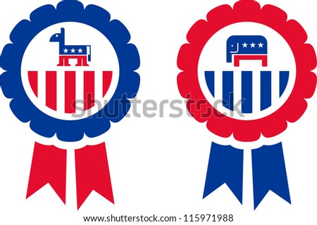 Merchandising of the Republican and Democrat Party - stock vector