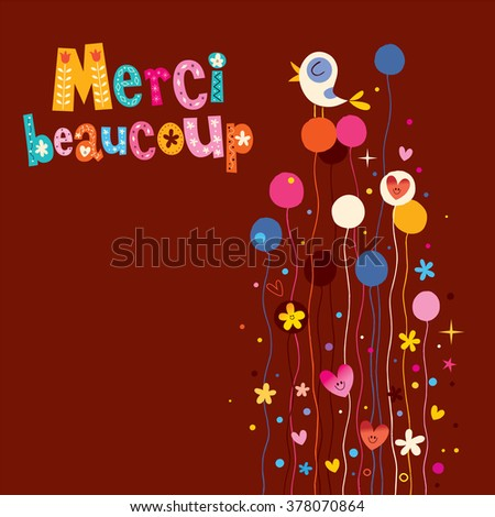 Merci beaucoup thank you very much in French greeting card - stock vector