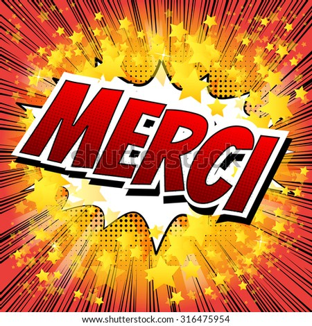 Merci - Comic book style word on comic book abstract background. - stock vector