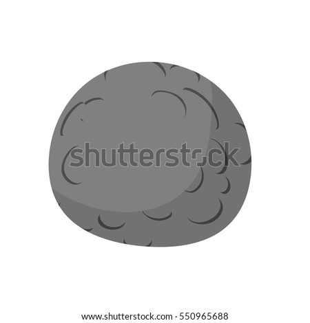 Mercury isolated cartoon style. Black Planet of solar system on white background