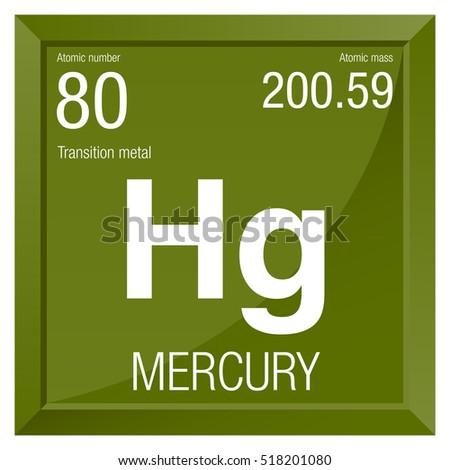 Mercury Symbol Element Number 80 Periodic Stock Vector Royalty Free