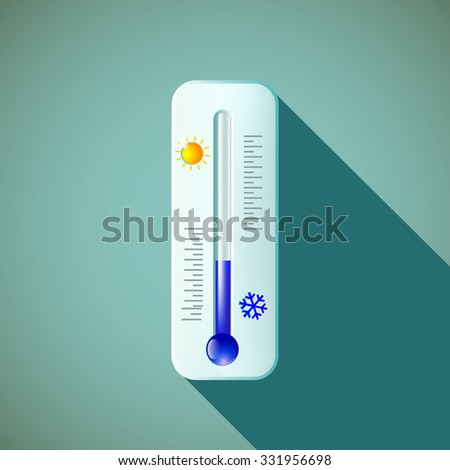 Mercury thermometer. Flat design. Stock vector illustration.