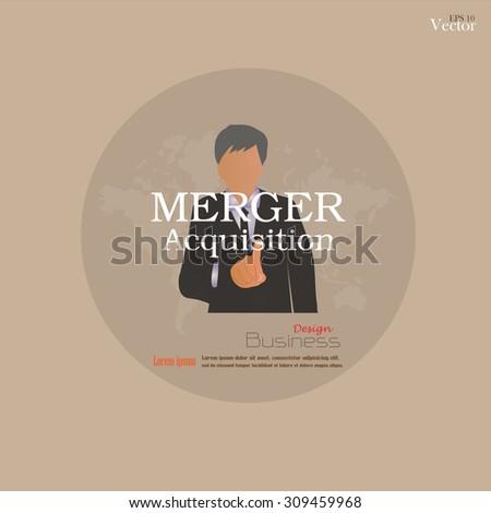 merger acquisition concept. merger acquisition. Man point to merger acquisition  .vector illustration. - stock vector