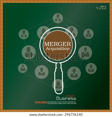 merger acquisition. merger acquisition with magnifier and business man network icon.vector illustration. - stock vector