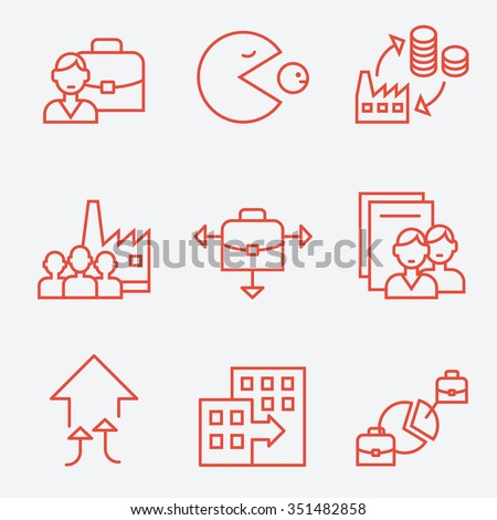 Mergers and acquisitions companies icons, thin line flat design - stock vector