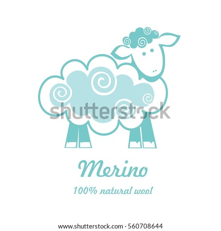 Merino 100% natural wool. Mint Sheep isolated on white background. Vector Illustration