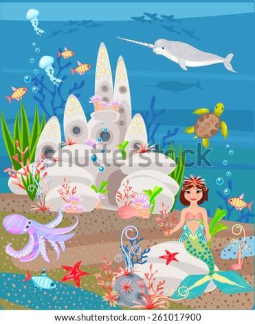 Underwater Mermaid Castle Castle Underwater Vect...
