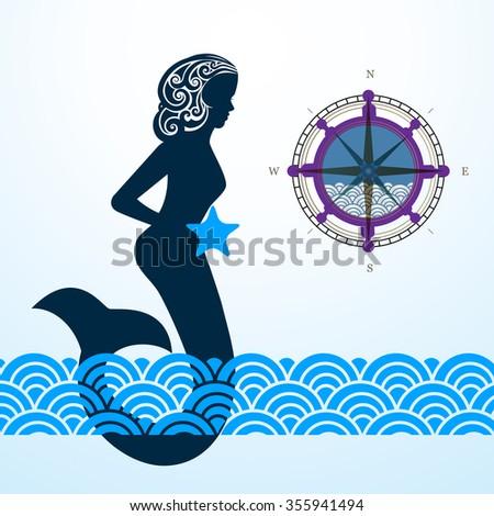 Mermaid compass waves  - stock vector
