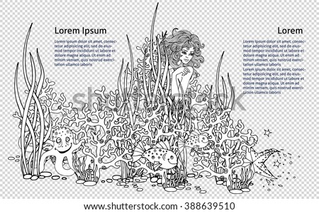 Mermaid Hiding Among The Corals Underwater Plants And Surrounded By Fish Illustration For Anti