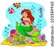 mermaid in the sea (vector version. mermaid and rock are detached and each them is grouped separately) - stock vector
