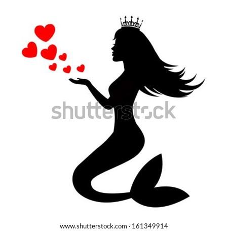 Mermaid Silhouette Tattoo Mermaid silhouette of a crown