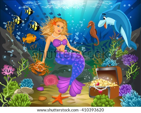 mermaid sitting on a rock underwater surrounded by fish